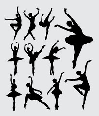 Ballet woman dancer silhouettes