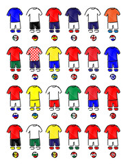 Europe Jerseys Football Kits Pencil Style