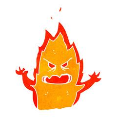 retro cartoon fire creature