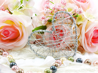 valentine day with heart and rose flower background concept