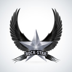 Silver star with Rock Star banner and wings