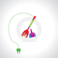 electric broom cleaning concept vector illustration
