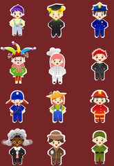 Set of kids with different professions on stickers.