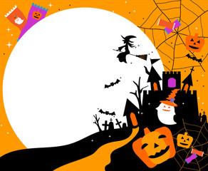 ハロウィン、秋、イベンド、コピースペース, 文字スペース、背景イラスト、お菓子、