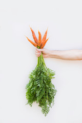 Fresh carrots. Concept of healthy food.