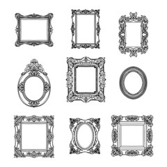 Vector hand drawn picture frames set. Sketch collection.