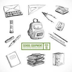 Hand drawn vector set of school items. Back to School.
