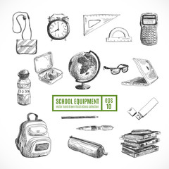 Hand drawn vector set of school items. Back to School.