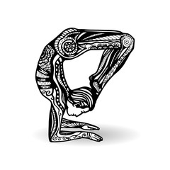 Vector yoga illustration in zentangle style. Man in yoga pose as emblem for yoga studio, yoga center, fitness center, sport magazine, also for tattoo.  Hand drawn sketch in doodle style. Yogi.