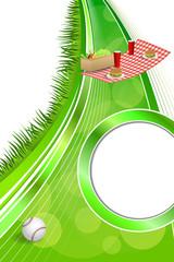 Background abstract picnic basket hamburger drink vegetables baseball ball circle frame ribbon vertical illustration vector