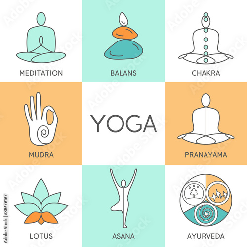 Vector Yoga Illustration Set Of Linear Icons Logos In Outline Style