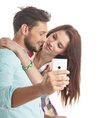 Young couple take selfie