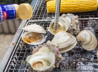 海産物のバーベキュー