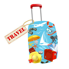 suitcase with elements of travel
