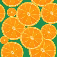 low poly polygon sliced fruit orange seamless texture pattern