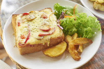cheese sandwich with fried potato,vegetables on white plate