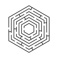 circular labyrinth in the shape of a hexagon black on white