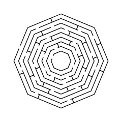 circular maze an octagon black on white