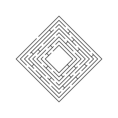 circular maze that is in the form of a square at the corner of b