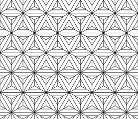 Vector black and white sacred geometry seamless pattern ,Modern textile print with illusion, abstract texture, Symmetrical repeating background