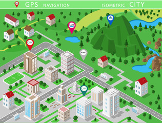Isometric landscapes with city buildings, village, roads, parks, plains, hills, mountains, lakes, rivers and waterfall. Set of detailed city buildings. 3d isometric map with gps navigation