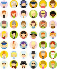 Set of vector cute character avatar icons in flat design