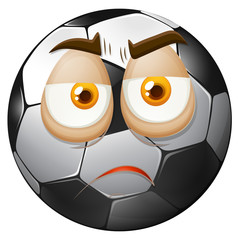 Football with sad face