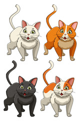 Yong cats in four colours