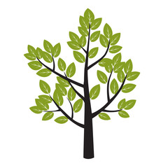 Tree and Green Leafs. Vector Illustration.