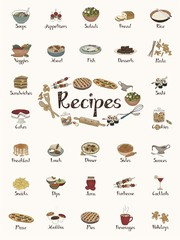 Food items / recipe stickers / cute hand-drawn illustrations (in English)