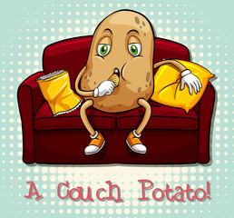 Couch potato idiom concept