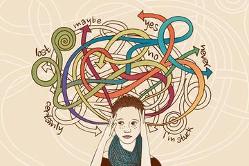 Handgezeichnetes Portrait einer Frau der es schwer fällt, eine Entscheidung zu treffen