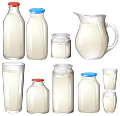 Milk and drink botles on white