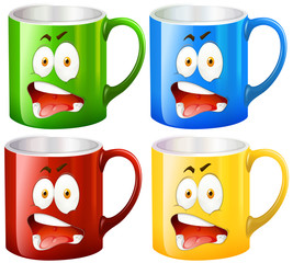 Coffee mugs with facial expressions