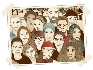 Handgezeichnetes Foto einer Gruppe junger Menschen unterschiedlicher Herkunft
