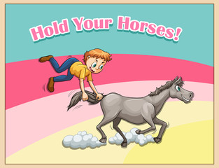 Idiom hold your horses