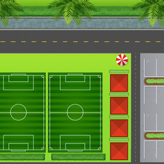 Football fields by carpark