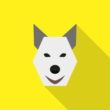 Dog face flat style icon vector logo on yellow background