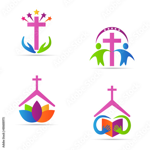 christianity cross vector design represents church logos christianity organizations signs and symbols