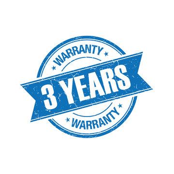 3 years warranty grunge retro isolated stamp