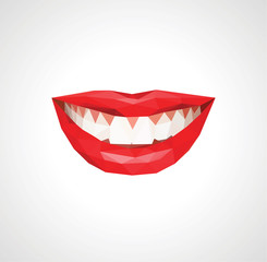 Stock Vector smile white teeth bright red lips