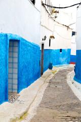 old door in  africa  wall ornate   blue street