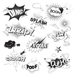 Comic black speech bubbles in pop art style