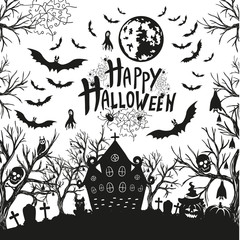 happy Halloween sign and icons for Halloween