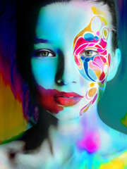 Portrait of woman with color bright makeup.Art.Fashion look