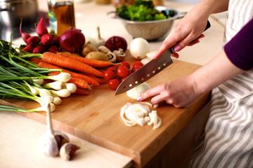 Female chef prepares a salad of fresh vegetables