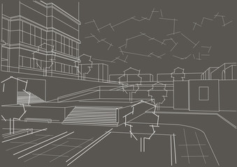 Linear architectural sketch residential quarter on gray background