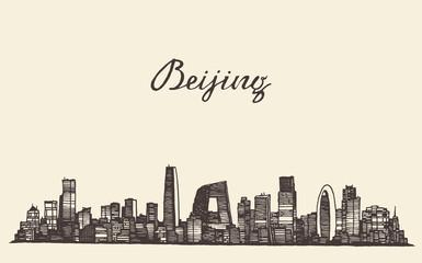 Beijing skyline vector engraved drawn sketch