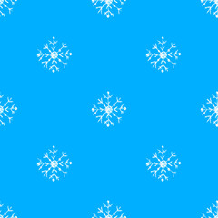 Hand drawn oil pastel seamless pattern of snowflakes
