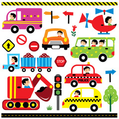 vehicles with driver clip art set